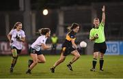 8 December 2018; Referee Brendan Rice signals for Ciara O'Sullivan of Mourneabbey to continue with the play during the All-Ireland Ladies Football Senior Club Championship Final match between Foxrock-Cabinteely, Dublin, and Mourneabbey, Cork, at Parnell Park in Dublin. Photo by Stephen McCarthy/Sportsfile