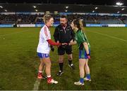 8 December 2018; Referee Seamus Mulvihill with Clontarf captain Sarah Murphy and Emmet Óg captain Nicole Rooney prior to the All-Ireland Ladies Football Intermediate Club Championship Final match between Clontarf GAA, Dublin, and Emmet Óg, Monaghan, at Parnell Park in Dublin. Photo by Stephen McCarthy/Sportsfile
