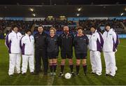 8 December 2018; Referee Seamus Mulvihill and his officials prior to the All-Ireland Ladies Football Intermediate Club Championship Final match between Clontarf GAA, Dublin, and Emmet Óg, Monaghan, at Parnell Park in Dublin. Photo by Stephen McCarthy/Sportsfile