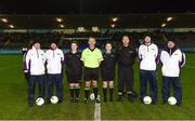 8 December 2018; Referee Brendan Rice and his officials prior to the All-Ireland Ladies Football Senior Club Championship Final match between Foxrock-Cabinteely, Dublin, and Mourneabbey, Cork, at Parnell Park in Dublin. Photo by Stephen McCarthy/Sportsfile
