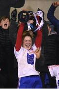 8 December 2018; Clontarf captain Sarah Murphy lifts the cup following the All-Ireland Ladies Football Intermediate Club Championship Final match between Clontarf GAA, Dublin, and Emmet Óg, Monaghan, at Parnell Park in Dublin. Photo by Stephen McCarthy/Sportsfile