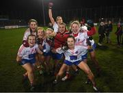 8 December 2018; Clontarf players celebrate following the All-Ireland Ladies Football Intermediate Club Championship Final match between Clontarf GAA, Dublin, and Emmet Óg, Monaghan, at Parnell Park in Dublin. Photo by Stephen McCarthy/Sportsfile