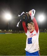 8 December 2018; Clontarf captain Sarah Murphy celebrates with the cup following the All-Ireland Ladies Football Intermediate Club Championship Final match between Clontarf GAA, Dublin, and Emmet Óg, Monaghan, at Parnell Park in Dublin. Photo by Stephen McCarthy/Sportsfile