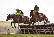 9 December 2018; Count Simon, left, with Davy Russell up, jumps the third alongside Minella Times, with Niall Madden up, on their way to finishing third and second respectively in the Join Our 2019 Members Club Novice Hurdle at Punchestown Racecourse in Naas, Co. Kildare. Photo by Seb Daly/Sportsfile