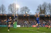 8 December 2018; James Wilson of Bath in action against Luke McGrath of Leinster during the European Rugby Champions Cup Pool 1 Round 3 match between Bath and Leinster at the Recreation Ground in Bath, England. Photo by Ramsey Cardy/Sportsfile
