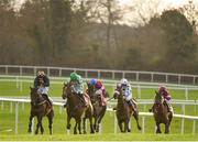 9 December 2018; Tornado Flyer, green hat, with Ruby Walsh up, races alongside eventual second place Take Revenge, left, with Donal McInerney up, on their way to winning the Punchestown Racecourse Of The Year Maiden Hurdle at Punchestown Racecourse in Naas, Co. Kildare. Photo by Seb Daly/Sportsfile