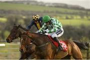 9 December 2018; Tornado Flyer, right, with Ruby Walsh up, races alongside eventual second place Take Revenge, left, with Donal McInerney up, on their way to winning the Punchestown Racecourse Of The Year Maiden Hurdle at Punchestown Racecourse in Naas, Co. Kildare. Photo by Seb Daly/Sportsfile