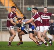 9 December 2018; Stephen Williams of Kilmacud Crokes in action against Aidan McElligot, left, and Simon Cadam of Mullinalaghta St Columba's during the AIB Leinster GAA Football Senior Club Championship Final match between Kilmacud Crokes and Mullinalaghta St Columba's at Bord na Móna O'Connor Park in Offaly. Photo by Daire Brennan/Sportsfile