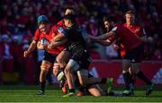 9 December 2018; Dave Kilcoyne of Munster is tackled by Kevin Firmin and Alex Tulou of Castres Olympique during the European Rugby Champions Cup Pool 2 Round 3 match between Munster and Castres at Thomond Park in Limerick. Photo by Brendan Moran/Sportsfile