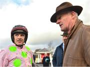 9 December 2018; Jockey Ruby Walsh, left, and trainer Willie Mullins after winning the John Durkan Memorial Punchestown Steeplechase with Min at Punchestown Racecourse in Naas, Co. Kildare. Photo by Seb Daly/Sportsfile