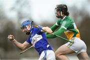 9 December 2018; Stephen Maher of Laois in action against Leigh Bergin of Laois during the Walsh Cup Round 1 match between Offaly and Laois at St Brendan's Park in Offaly. Photo by David Fitzgerald/Sportsfile