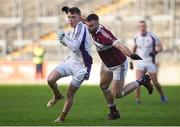9 December 2018; Cian O'Connor of Kilmacud Crokes in action against Aidan McElligott of Mullinalaghta St Columba's during the AIB Leinster GAA Football Senior Club Championship Final match between Kilmacud Crokes and Mullinalaghta St Columba's at Bord na Móna O'Connor Park in Offaly. Photo by Daire Brennan/Sportsfile