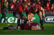 9 December 2018; CJ Stander of Munster is congratulated by team-mates Keith Earls and Mike Haley after scoring his side's second try during the European Rugby Champions Cup Pool 2 Round 3 match between Munster and Castres at Thomond Park in Limerick. Photo by Diarmuid Greene/Sportsfile