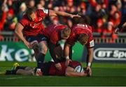 9 December 2018; CJ Stander of Munster is congratulated by team-mates Arno Botha, Keith Earls and Mike Haley after scoring his side's second try during the European Rugby Champions Cup Pool 2 Round 3 match between Munster and Castres at Thomond Park in Limerick. Photo by Diarmuid Greene/Sportsfile