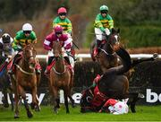 9 December 2018; Ministerforsport, right, and jockey Donal McInerney, fall at the first during the GAIN Supporting Laois GAA Beginners Steeplechase at Punchestown Racecourse in Naas, Co. Kildare. Photo by Seb Daly/Sportsfile