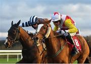 9 December 2018; Se Mo Laoch, right, with Derek O'Connor up, races alongside Snugsborough Hall, with Denis O'Regan up, on their way to winning the K Club Handicap Steeplechase at Punchestown Racecourse in Naas, Co. Kildare. Photo by Seb Daly/Sportsfile