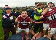 9 December 2018; Rian Brady of Mullinalaghta St Columba's celebrates with supporters after the AIB Leinster GAA Football Senior Club Championship Final match between Kilmacud Crokes and Mullinalaghta St Columba's at Bord na Móna O'Connor Park in Offaly. Photo by Daire Brennan/Sportsfile