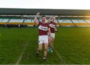 9 December 2018; Mullinalaghta St Columba's players Francis Mulligan, left, and Patrick Fox celebrate after the AIB Leinster GAA Football Senior Club Championship Final match between Kilmacud Crokes and Mullinalaghta St Columba's at Bord na Móna O'Connor Park in Offaly. Photo by Daire Brennan/Sportsfile