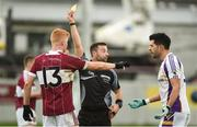 9 December 2018; Cian O'Sullivan of Kilmacud Crokes argues with referee David Gough after being sent off during the AIB Leinster GAA Football Senior Club Championship Final match between Kilmacud Crokes and Mullinalaghta St Columba's at Bord na Móna O'Connor Park in Offaly. Photo by Daire Brennan/Sportsfile