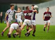9 December 2018; Conan Brady of Mullinalaghta St Columba's in action against Conor Casey of Kilmacud Crokes during the AIB Leinster GAA Football Senior Club Championship Final match between Kilmacud Crokes and Mullinalaghta St Columba's at Bord na Móna O'Connor Park in Offaly. Photo by Daire Brennan/Sportsfile