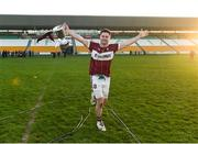 9 December 2018; Mullinalaghta St Columba's captain Shane Mulligan celebrates with the cup after the AIB Leinster GAA Football Senior Club Championship Final match between Kilmacud Crokes and Mullinalaghta St Columba's at Bord na Móna O'Connor Park in Offaly. Photo by Daire Brennan/Sportsfile
