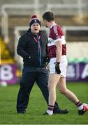 9 December 2018; Mullinalaghta St Columba's manager Mickey Graham gives instructions to Francis Mulligan ahead of the AIB Leinster GAA Football Senior Club Championship Final match between Kilmacud Crokes and Mullinalaghta St Columba's at Bord na Móna O'Connor Park in Offaly. Photo by Daire Brennan/Sportsfile