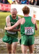 9 December 2018;  Kevin Maunsell, left, and Sean Tobin of Ireland after competing in the Senior Men's event during the European Cross Country Championship at Beekse Bergen Safari Park in Tilburg, Netherlands. Photo by Sam Barnes/Sportsfile