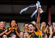 9 December 2018; Glanmire captain Amy Turpin lifts the cup after the All-Ireland Ladies Football Junior Club Championship Final match between Glanmire and Tourlestrane at Duggan Park in Galway. Photo by Piaras Ó Mídheach/Sportsfile