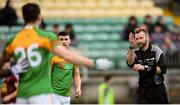 9 December 2018; Referee Anthony Nolan awards a free for four consecutive hand passes during the O'Byrne Cup Round 1 match between Carlow and Westmeath at Netwatch Cullen Park in Carlow. Photo by Stephen McCarthy/Sportsfile