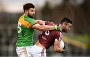9 December 2018; Noel Mulligan of Westmeath in action against Daniel St Ledger of Carlow during the O'Byrne Cup Round 1 match between Carlow and Westmeath at Netwatch Cullen Park in Carlow. Photo by Stephen McCarthy/Sportsfile