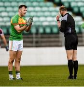 9 December 2018; Darragh Foley of Carlow and referee Anthony Nolan during the O'Byrne Cup Round 1 match between Carlow and Westmeath at Netwatch Cullen Park in Carlow. Photo by Stephen McCarthy/Sportsfile