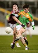 9 December 2018; Josh Moore of Carlow in action against James Maxwell of Westmeath during the O'Byrne Cup Round 1 match between Carlow and Westmeath at Netwatch Cullen Park in Carlow. Photo by Stephen McCarthy/Sportsfile