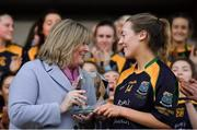 9 December 2018; Kate Hannon of Glanmire is presented with her Player of the Match award by Marie Hickey, President, LGFA, after the All-Ireland Ladies Football Junior Club Championship Final match between Glanmire and Tourlestrane at Duggan Park in Galway. Photo by Piaras Ó Mídheach/Sportsfile