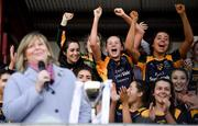 9 December 2018; Glanmire players celebrate as they wait for Marie Hickey, President, LGFA, to present the cup after the All-Ireland Ladies Football Junior Club Championship Final match between Glanmire and Tourlestrane at Duggan Park in Galway. Photo by Piaras Ó Mídheach/Sportsfile