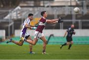 9 December 2018; John Keegan of Mullinalaghta St Columba's in action against Cian O'Sullivan of Kilmacud Crokes during the AIB Leinster GAA Football Senior Club Championship Final match between Kilmacud Crokes and Mullinalaghta St Columba's at Bord na Móna O'Connor Park in Offaly. Photo by Daire Brennan/Sportsfile