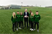 10 December 2018; John Delaney, CEO, Football Association of Ireland, with, from left, members of the FAI-ETB course Rebecca Ritchie, Michael Hearne, Clodagh Sutton, Daniel Olasunbo, Rachel Ritchie and Dylan Walsh in attendance during the Official opening of the FAI-ETB Waterford Centre at Waterford I.T. in Waterford. Photo by Matt Browne/Sportsfile