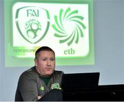 10 December 2018; Paddy Carey, Lead Coordinator, FAI-ETB, speaks during the Official opening of the FAI-ETB Waterford Centre at Waterford I.T. in Waterford. Photo by Matt Browne/Sportsfile