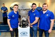 10 December 2018; Leinster players Nick McCarthy, left, Fergus McFadden, centre, and Jack McGrath during the Bank of Ireland Leinster Schools Cup Draw at Bank of Ireland Ballsbridge Branch in Ballsbridge, Dublin. Photo by Ramsey Cardy/Sportsfile