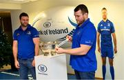 10 December 2018; Leinster players Fergus McFadden, left, and Jack McGrath during the Bank of Ireland Leinster Schools Cup Draw at Bank of Ireland Ballsbridge Branch in Ballsbridge, Dublin. Photo by Ramsey Cardy/Sportsfile