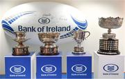 10 December 2018; A general view of the cups during the Bank of Ireland Leinster Schools Cup Draw at Bank of Ireland Ballsbridge Branch in Ballsbridge, Dublin. Photo by Ramsey Cardy/Sportsfile