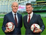 11 December 2018; SPAR, Ireland's leading convenience retail group, and the Football Association of Ireland today announced a sponsorship agreement which will see SPAR renew as the Official Convenience Store of the FAI. The announcement took place at the Aviva Stadium with the Republic of Ireland's new manager Mick McCarthy along with head coach of the Republic of Ireland Women's International Senior Team, Colin Bell in attendance. The partnership between SPAR and the FAI began in 2015 encompassing the Irish national football team and the hugely successful SPAR FAI Primary School 5s Programme. Pictured are Mick McCarthy, Republic of Ireland manager, left, and Colin Bell, Republic of Ireland Women's National Team manager, during the 2018 SPAR and FAI Sponsorship Renewal at the Aviva Stadium in Dublin. Photo by Seb Daly/Sportsfile
