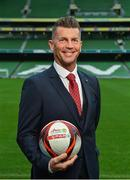 11 December 2018; SPAR, Ireland's leading convenience retail group, and the Football Association of Ireland today announced a sponsorship agreement which will see SPAR renew as the Official Convenience Store of the FAI. The announcement took place at the Aviva Stadium with the Republic of Ireland's new manager Mick McCarthy along with head coach of the Republic of Ireland Women's International Senior Team, Colin Bell in attendance. The partnership between SPAR and the FAI began in 2015 encompassing the Irish national football team and the hugely successful SPAR FAI Primary School 5s Programme. Pictured is Colin Bell, Republic of Ireland Women's National Team manager, during the 2018 SPAR and FAI Sponsorship Renewal at the Aviva Stadium in Dublin. Photo by Seb Daly/Sportsfile