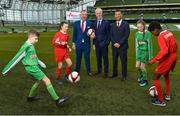 11 December 2018; SPAR, Ireland's leading convenience retail group, and the Football Association of Ireland today announced a sponsorship agreement which will see SPAR renew as the Official Convenience Store of the FAI. The announcement took place at the Aviva Stadium with the Republic of Ireland's new manager Mick McCarthy along with head coach of the Republic of Ireland Women's International Senior Team, Colin Bell in attendance. The partnership between SPAR and the FAI began in 2015 encompassing the Irish national football team and the hugely successful SPAR FAI Primary School 5s Programme. Pictured are, from left, Cameron Tormey, age 11, from Lucan, Alex Carrick, age 12, from Clondalkin, SPAR Sales Director Colin Donnelly, Mick McCarthy, Republic of Ireland manager, Colin Bell, Republic of Ireland Women's National Team manager, Éabha Seery, age 12, from Clondalkin, and Murphy Alade, age 11, from Irishtown, during the 2018 SPAR and FAI Sponsorship Renewal at the Aviva Stadium in Dublin. Photo by Seb Daly/Sportsfile