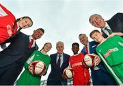 11 December 2018; SPAR, Ireland's leading convenience retail group, and the Football Association of Ireland today announced a sponsorship agreement which will see SPAR renew as the Official Convenience Store of the FAI. The announcement took place at the Aviva Stadium with the Republic of Ireland's new manager Mick McCarthy along with head coach of the Republic of Ireland Women's International Senior Team, Colin Bell in attendance. The partnership between SPAR and the FAI began in 2015 encompassing the Irish national football team and the hugely successful SPAR FAI Primary School 5s Programme. Pictured are, from left, Alex Carrick, age 12, from Clondalkin, Colin Bell, Republic of Ireland Women's National Team manager, Éabha Seery, age 12, from Clondalkin, Mick McCarthy, Republic of Ireland manager, Murphy Alade, age 11, from Irishtown, SPAR Sales Director Colin Donnelly, Cameron Tormey, age 11, from Lucan, and John Delaney, CEO, Football Association of Ireland, during the 2018 SPAR and FAI Sponsorship Renewal at the Aviva Stadium in Dublin. Photo by Seb Daly/Sportsfile