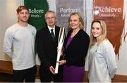 11 December 2018; In attendence, from left, are Arthur Lanigan-O'Keeffe, Ireland Modern Pentathlete, along with John Treacy, Chief Executive Sport Ireland, Sarah Keane, President of Olympic Federation of Ireland and Nicci Daly, Ireland International Hockey player as the Olympic Federation of Ireland & Sport Ireland Institute launch ground-breaking new performance support ahead of Tokyo 2020 at the Sports Ireland Institute, in Abbotstown, Dublin. Photo by Sam Barnes/Sportsfile