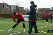 11 December 2018; Joey Carbery in conversation with lead physiotherapist Damien Mordan during Munster Rugby squad training at the University of Limerick in Limerick. Photo by Diarmuid Greene/Sportsfile