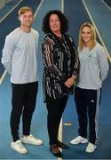11 December 2018; In attendance from left, Arthur Lanigan-O'Keeffe, Ireland Modern Pentathlete, Patricia Heberle, Chef De Mission Tokyo 2020, and Nicci Daly, Ireland International Hockey player as the Olympic Federation of Ireland & Sport Ireland Institute launch ground-breaking new performance support ahead of Tokyo 2020 at the Sports Ireland Institute, in Abbotstown, Dublin. Photo by Sam Barnes/Sportsfile
