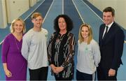 11 December 2018; In attendance from left, Sarah Keane, President of Olympic Federation of Ireland, Arthur Lanigan-O'Keeffe, Ireland Modern Pentathlete, Patricia Heberle, Chef De Mission Tokyo 2020, Nicci Daly, Ireland International Hockey player and Peter Sherrard, CEO, Olympic Federation of Ireland, as the Olympic Federation of Ireland & Sport Ireland Institute launch ground-breaking new performance support ahead of Tokyo 2020 at the Sports Ireland Institute, in Abbotstown, Dublin. Photo by Sam Barnes/Sportsfile