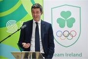 11 December 2018; Peter Sherrard, CEO, Olympic Federation of Ireland, speaking as the Olympic Federation of Ireland & Sport Ireland Institute launch ground-breaking new performance support ahead of Tokyo 2020 at the Sports Ireland Institute, in Abbotstown, Dublin. Photo by Sam Barnes/Sportsfile