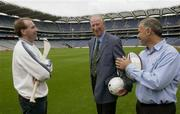 19 September 2003; Three legends of Irish sport, DJ Carey, Tony Ward and Jack Charlton in jovial mood when they came together, in Croke Park, Dublin, for a Flora pro.active cholesterol awareness campaign to mark World Heart Day, which is Sunday 28 September 2003. Picture credit; Ray McManus / SPORTSFILE *EDI*